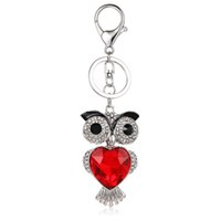 Fashion Silver Color Lobster Clasp Metal Keyring Rhinestone 3D Owl Charms Porte-clés pour Lover Luxury Bag Jewelry