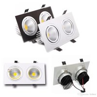 COB Double Heads Led Fixture Teto Down Lights Dimmable 20W Square Led Downlights Lâmpada Branco / Prata / Black Shell
