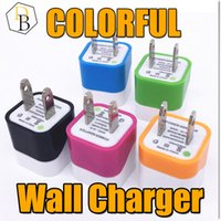 Wholesale Cheap Colorful Iphone Chargers - for Iphone 6 plus colorful wave one usb home charger 2 pin charging 5V 1A cheap price charging plug USA wall adapter