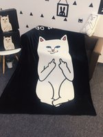 Wholesale Flannel Sheets Full - Spoof white cat blanket fool empty air box blanket middle finger cat series flannel blanket single double bed sheet