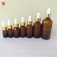 Wholesale 15ml Amber Dropper Bottle - Wholesale- 5ml 10ml 15ml 20ml 30ml 50ml 100ml Glass Dropper Bottles with Pipette Empty Amber Esssentail Oil Bottles Liquid Vials Jars 24pcs