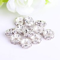 Wholesale Spacer Beads 12mm Rondelle - 6MM 8MM 10MM 12MM Clear Rondelle Crystal Rhinestone Spacer Beads, Silver Plated, Wave-shaped Jewelry Findings & Components , 100PCS lot