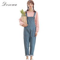ingrosso jumpsuits in stile coreano-Wholesale- allentato denim denim tuta 2017 coreano stile preppy casual semplice anklelength denim tuta donna grande tasca dei jeans tuta