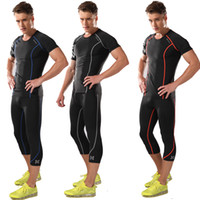 Wholesale male fitness suit short sleeved shirt elastic compression fitness clothes quick drying breathable gym running sets