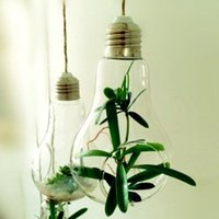 Wholesale Glass Hydroponic Pots - 2017 New Glass Bulb Lamp Shape Flower Water Plant Hanging Vase Hydroponic Container Pot Home Office Wedding Decor