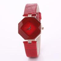 octagon preto venda por atacado-Mulheres Se Vestem Assista Moda Ladies Watch Casual Feminino Relógio de Quartzo Mulheres Relógios de Pulso Relogio feminino Octagon / Azul / Vermelho / Branco / Preto