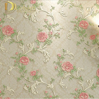 Wholesale Flower Wallpapers High Quality - Wholesale- High Quality 3D solid pastoral flowers wallpaper roll for living room girl's bedroom TV sofa background walls wall paper R441