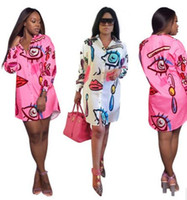 Wholesale Fashion V Neck Tshirt - Women Casual Dresses Fashion Personalized hip-hop printing Shirt dress Sexy Club Party Long sleeves Mini Bodycon tshirt 2017