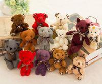 Wholesale Stuffed 12cm Teddy Bears - Stuffed teddy bear plush toys girl baby shower party favor cartoon animal key bag pendants 12cm Christmas presents