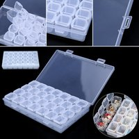 Wholesale 28 Slots Adjustable Clear Plastic Storage Box Case Jewelry Makeup Bead Organizer For Home Room Box