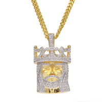 Wholesale White Gold Head Crowns - Men Hip hop Crown Jesus Head Necklaces Pendants Clear Bling Micro Cubic Zircon Top Quality Jewelry With Stainless Steel Cuban Chain