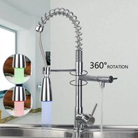 Wholesale Torneira Pull Down Spray - Wholesale- YANKSMART LED Pull Down Swivel Brass Chrome Spray Sink Kitchen Faucet Basin Faucet Torneira Cozinha Faucets Mixer Tap