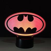 iluminación de batman al por mayor-Lámpara de ilusión óptica Batman 3D Night Light DC 5V Carga USB 5ª batería Dropshipping al por mayor Caja de envío gratis