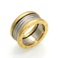 Wholesale Solid Gold Plated For Men - New Fashion Jewelry Top Quality Lovers Luxury Brands Rings 11MM Wedding Black Stainless Steel Solid Ring For Men And Women Party