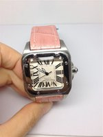 Wholesale Pink Designer Watches Women - New fashion ladies dress watch famous designer watches for women quartz movement with pink leather diamonds bezel wristwatch 130