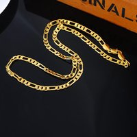 Wholesale Wholesale Pure Gold Jewelry - Wholesale- 2016 NEW Fashion 1PC Genuine Pure Gold Color Links Chain Necklace 4.2mm Fit DIY Fine Punk Men Jewelry Cool Style 59.5cm