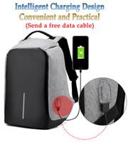 Wholesale European Travel Usb - landyhouse Unisex Multifunctional External USB Charging Anti Theft Backpack Mens Oxford 16inch Laptop Bag Male Travel Mochila