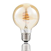 Wholesale Curling Vintage - Vintage G80 G25 Edison LED Bulb E26 4W 110V Dimmable 2200K Warm Yellow Spiral Curled Filament LED Bulb Retro Decorate Shop Bar Home Hotel
