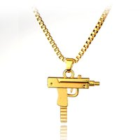 Wholesale 2016 HOT New Engraved Hip Hop For Supreme Gun Shape Uzi Golden Pendant Fine Quality Necklace Gold Chain Popular Fashion Jewelry