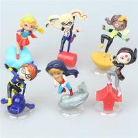 Wholesale Batgirl Comics - COMICS Super Heroes Harley Quinn Katana Batgirl Supergirl HawkGirl Wonder Woman PVC Figures Collection Model Toys 6 pcs   set.