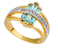 Wholesale Engage Rings - Vintage Light Blue Yellow Gold Plated Engages Rings For Women Fine Jewelry Wedding Party Gift Anillos Bijoux