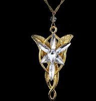 Wholesale evenstar jewelry resale online - Hot sales Lotr Lord Of The Rings Elf Princess Arwen Evenstar Pendants Twilight Elves Princess Silver Plated Pendant Neck Cosplay jewelry