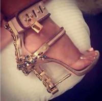 botas de rhinestone al por mayor-Diseño de moda de punta tacón alto peep toe mujeres sandalias botas vino sin tirantes Rhinestone Lock verano zapatos mujer alta calidad