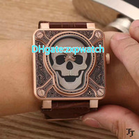 Wholesale pirate watches online - Pirates of the face watch geninue brown leather band everose case engraved dial square fashion brand automatic watches
