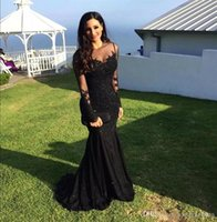 Wholesale Long Red Evening Drsses - Attractive 2017 Black Bead Mermaid Prom Dress With Jewel Neck Zipper Back Lace Appliques Long Sleeve Evening Gown Cheap Drsses Evening Wear