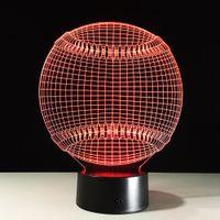 Wholesale Baseball Lamps - Cool 3D Baseball Lamp Gift Night Light 7 RGB Lights DC 5V USB Charging AA Battery Dropship Gift Box Fast Shipping