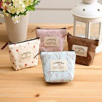 Wholesale Vintage Lovely Bag - Lovely Flower Plants Canvas Bags Women Travel Cosmetic Bag Storage Pouch Coin Purse Keys Wallet Coin Holder