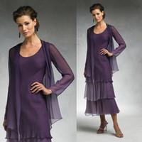 Wholesale Modest Tea Length Dresses - Modest Purple Chiffon Mother Of The Bride Dresses With Long Jacket 2017 Plus Size Tea Length Two Piece Groom Mother Formal Oufits Cheap