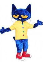 Wholesale Costume Mascots Cat - High quality Pete the Cat Adult Size Halloween Cartoon Mascot Costume Fancy Dress