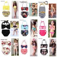 Wholesale Usa Flag Bikini Xl - Mermaid Swimwear Ins Baby Floral Bikini Girls Dot USA Flag Swimsuit Children's Bowknot Stripe Beachwear Fashion Bodysuit Bathing Suit I26