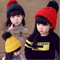 Wholesale Cute Korean Kids Winter Hat - Cute Knite Baby Girls Hats Korean Fashion Colorful Balls Children Crochet Caps Winter Plus Thick Warm Beanie Kids Hat 7543