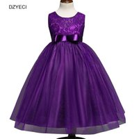 Wholesale Wholesale Cotton Frock For Kids - Elegant Bridesmaid Dresses For Teenagers Girl Embroidery Bow Lace Princess Costume Fashion Children Kid Graduation Gowns Party Wedding Frock