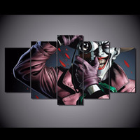 komik sanat batman toptan satış-Comic batman öldürme şaka Tuval Üzerine Boyama Modüler Resim duvar Sanatı Joker Resimlerinde Ev dekor 5 parça Çerçevesiz