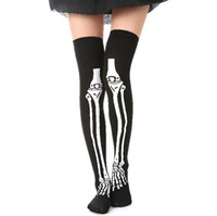 Wholesale scary skeleton - 2017 Halloween Wear Party Women Scary Bleed or Skeleton Occupational Stockings Tights Cosplay Female Costumes Hosiery