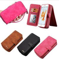 Wholesale Plain Phone Case Cover - Magnetic Leather Pouch Purse Detachable BRG Portable Card Wallet Bag Phone Case For Samsung Iphone Handbag Cover OOA2311