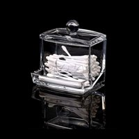 Barato Recipientes De Recipientes Por Atacado-Venda por atacado - Clear ABS Makeup Swabs de algodão Stick Holder Bin Storage Container Organizer Box