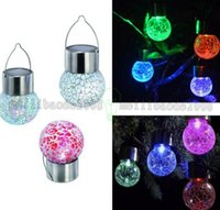 Wholesale Solar Hanging Lights Garden Wholesale - NEW Solar hanging lights Set of 7 Color Changing White LED Crackle Glass Hanging Lights MYY