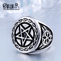 Wholesale Star Punk Rings - Dhgate Unique Five Star Ring For Man 316L Stainless Steel Man's High Quality Gothic Punk Man's Ring BR8-371