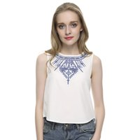 Wholesale Low Price Crop Tops - Women's Embroidery white crop tops casual blouses blusa feminina O neck sleeveless shirt slim top low price plus size WT07