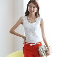 Wholesale crochet blusa - New 2018 Women Tank Top Lace Crochet Shirts Sleeveless Black White Blouse Woman Tops Roupas Femininas Branco Blusa Plus Size