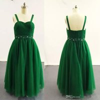 Wholesale Multi Color Beaded Pageant Dresses - New Green Ball Gown Little Girl Pageant Dresses Double Strapped Beaded Pleated Ruched Tulle Dress