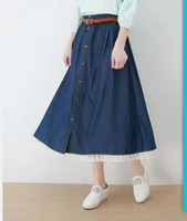Wholesale Jean Skirt Lace - Summer 2017 Women Cotton Denim Skirt Femme Mori Girl Style Lace Patchwork Single Breasted Pleated Jean Skirt Long