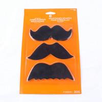 Wholesale Moustache Props - Halloween Party Simulation Moustache Costume Parties Props Halloween Accessories Large Size Fleece Moustache 3Pcs Funny Blister Card Beard