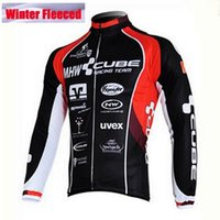 Wholesale Mtb Cycling Wear - 2017 Winter Fleece Cycling Jersey mans Racing Bike cube Cycling Clothing MTB Cycle Clothes Wear Ropa Ciclismo Sportswear Polyester Jackets