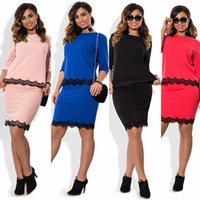 Wholesale neck collar support - Fashion new section bursts lace stitching round neck collar sleeves dress skirt two suit suit support mixed batch