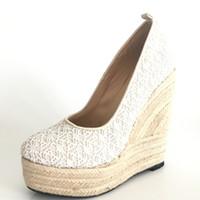 белый клинок для свадебной обуви оптовых-2017 Белый Свадебные Свадебные Туфли Плюс Размер Женщин Клинья Обувь Дешевые Скромный Мода Обувь Кружева Клин Обуви